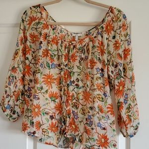 Joie bright colorful silk sheer blouse sz S